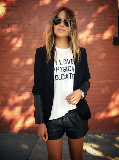 Short Skirt and Black Jacket Street Styles Fashion For Women