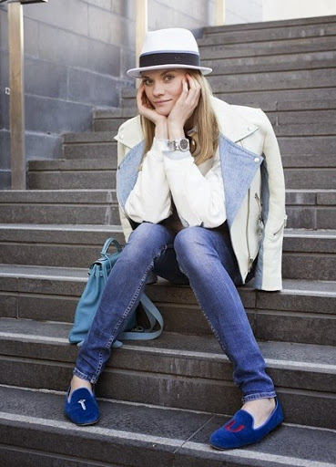 Tatiana Chemeleva Brilliant Cream Color Acne Jacket,a Sweat Shirt and Blue Shade Jeans and Blue Bellies (Shoes) with Pork Pie Hats Street Style Fashion