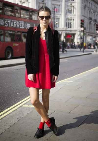 Rebecca Tay White and Blue j Crew jacket, Red Mini Skirt with Style Prada Sunglasses Street Fashion