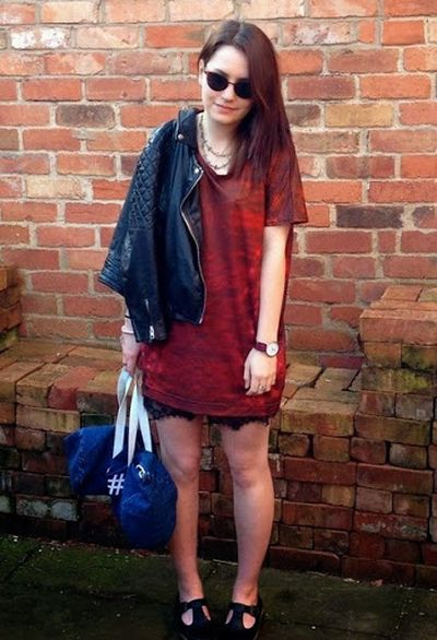 Gemma Sanderson Pretty Pink Colored Dress and Socks with Sport Look Jacket Grate Looking Street Styles Fashion