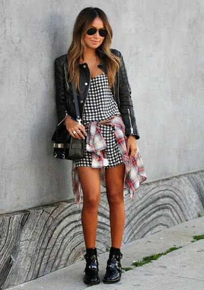 Beautiful and Handsome Girl Short Silky Skirt with Leather Jacket Street Fashion and Styles