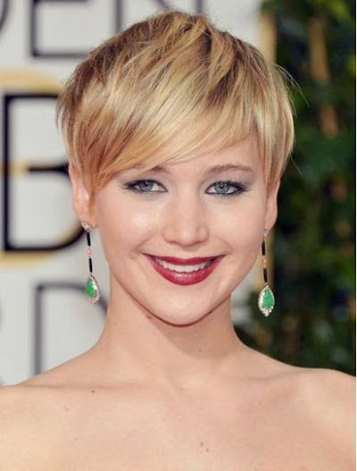 Jennifer Lawrence Bangs with Choppy Blonde Hairstyle Look