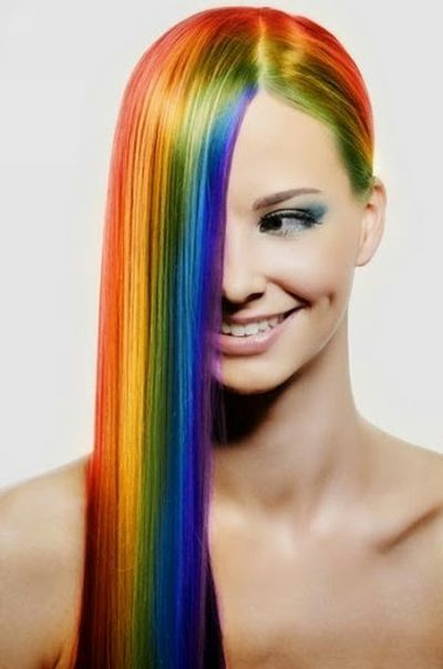 Rainbow Hair Design With Long Straight Hairstyle