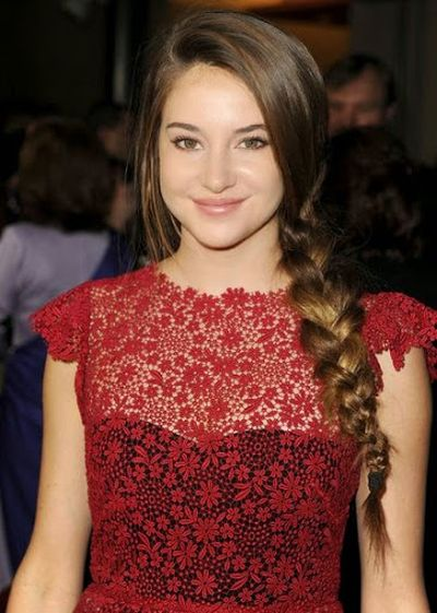 Shailene Woodley Long Braided Side Sweep Ponytail Hairstyle