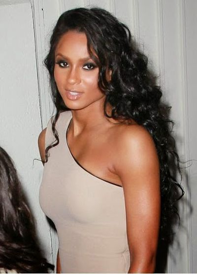 Ciara in One Shoulder Formal Dress With Wavy and Curls Hairstyle