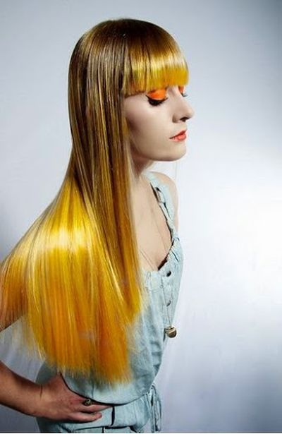 Yellow and Golden Hair Colored Bangs and Long Straight Hairstyle for Girls