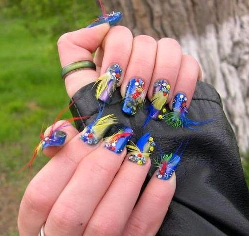 Lovely 3D Feathers Nail Art Designs