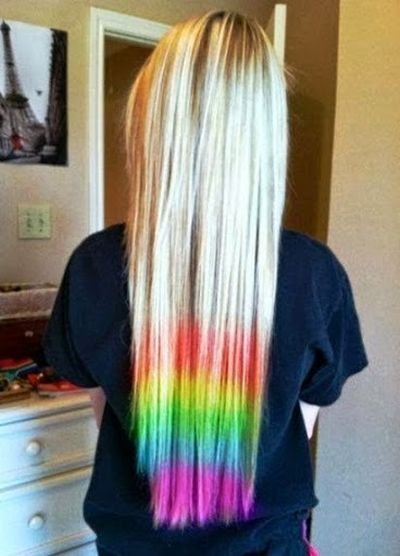 Adorable Long Straight Hair Rainbow Color Hair Ideas for Girls