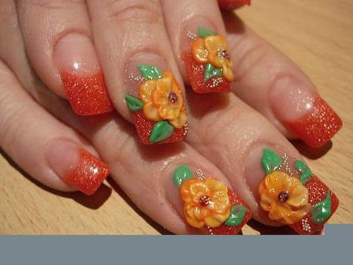 Acrylic and Flower 3D Nail Art Ideas For Kitty Party