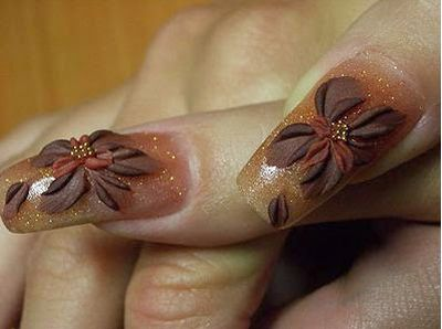 Coffee Colored Ribbon Flower with Rhinestone 3D Nail Art