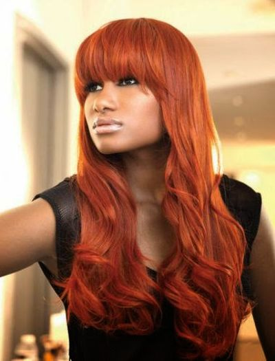 Red Hair Color With Bangs for Black Women