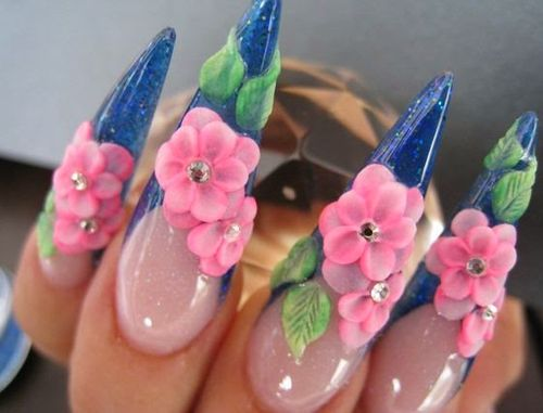 Stiletto Nail Shape with Flower and Leaf 3D Nail Art Designs