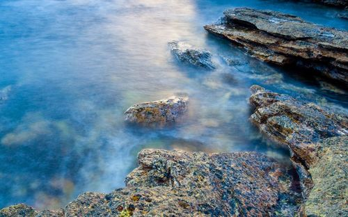 Lovely Sea Rock and Beach Wallpaper