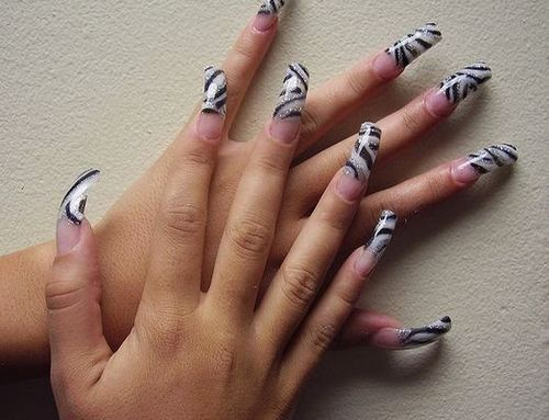 Silver and Black Acrylic 3D Nail Art Designs