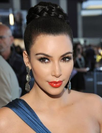 19. Braided Bun Hairstyle Ideas and Fashion For Hollywood Female Celebrity Kim Kardashian