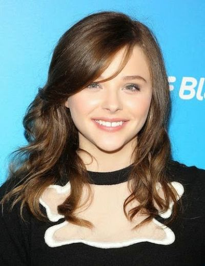 Chloe Moretz Shining Hair with Parted Bangs Hairstyle