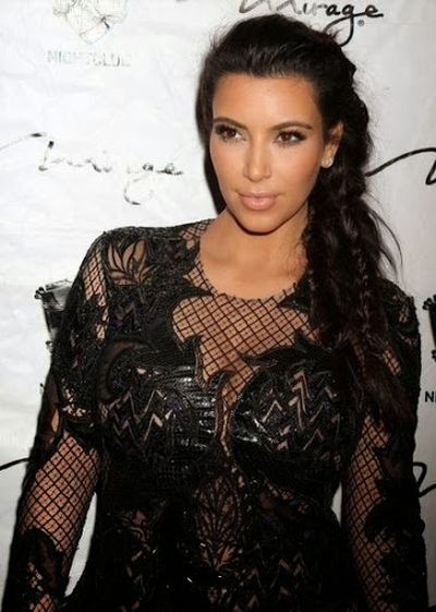 2. Awesome Black Lace Dress with Long Braided Ponytail Hairstyle for Kim Kardashian
