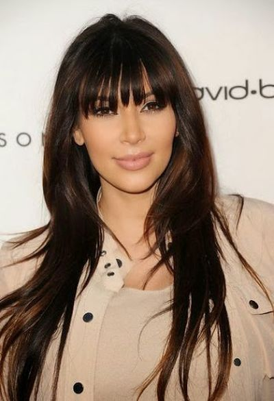 Kim Kardashian Long Hair Bangs Hairstyle