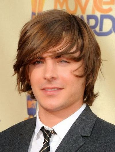 Zac Efron Meadiun Straight Floppy Shaggy Hairstyle Look
