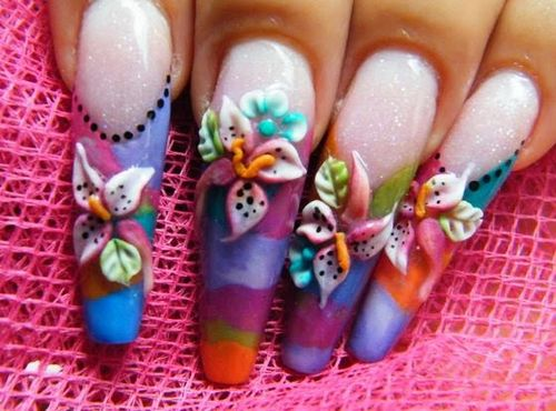 Long 3D Nail Art Designs With Flower