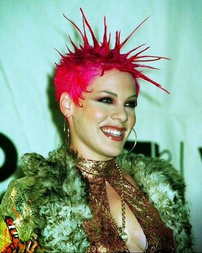 Pink Dark Pink Hair Color and Rocking Spiked Hairstyle