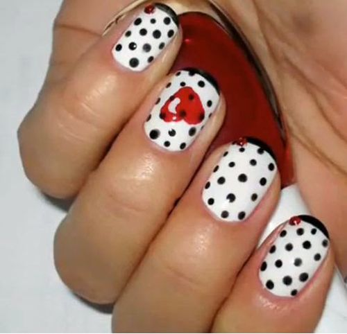 35 beautiful black white nail art designs and ideas 2017 glorious black dots and white background with red colored heart nail art amazing design and ideas prinsesfo Images