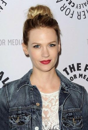 January Jones Trendy Top Knot Finish Look