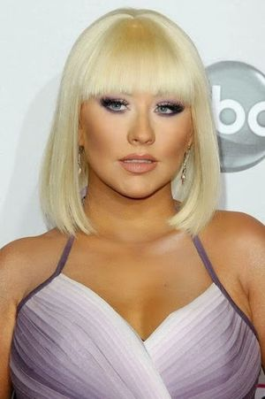 Christina Aguilera Shoulder Length Bob and Bangs Hairstyle