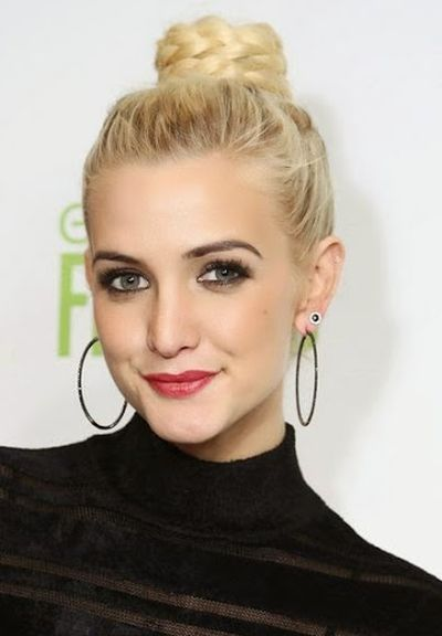 Ashlee Simpson Braided Topknot Bun Hairstyle