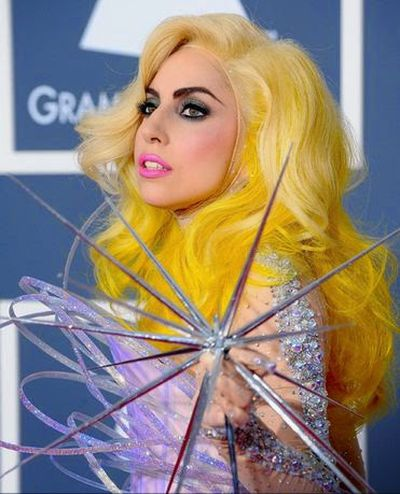 Lady Gaga yellow Hair Colored Hairstyle Ideas