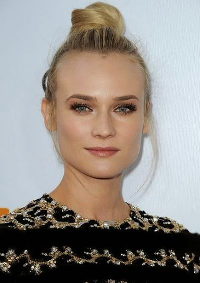 Diane Kruger Ultra Sleek Top Bun Hairstyle