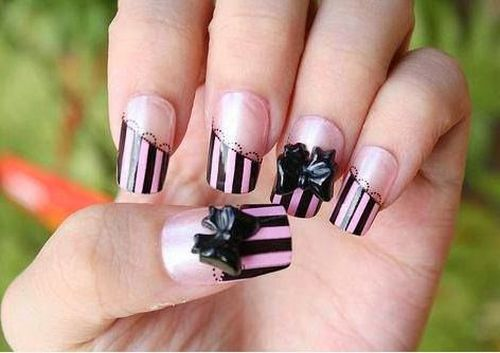 Pink and Black Colored Theme 3D Nail Art For Little Girls