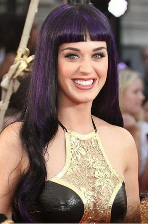Katy Perry Black and Purple Colored Hair Bob and Bangs Hairstyle Look