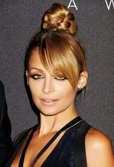Nicole Beautiful Stylish Topknot and Bangs Hairstyle