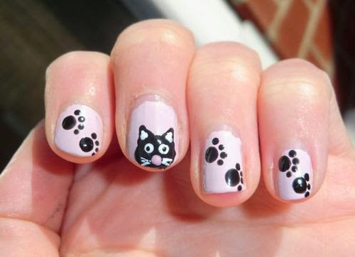 35 beautiful black white nail art designs and ideas 2017 cool and stylish black cat and paws with black and white nail art designs prinsesfo Images