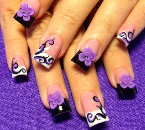 Purple Flower and White and Black Colored Fanciful 3D Nail Art