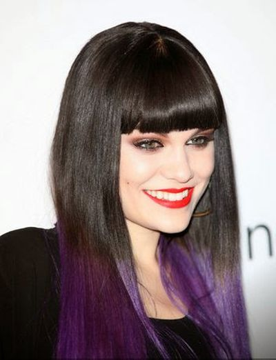 Jessie J Straight Hair and Black and Purple Hairstyle