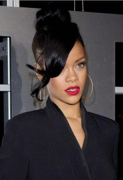 Rihanna Long Length Hair Bangs, Undercut and TopKnot Hairstyle