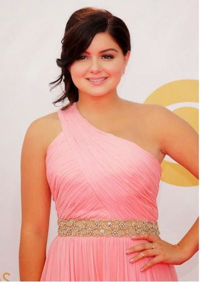 Ariel Winter bun and Long Side Swept Bang Hairstyle