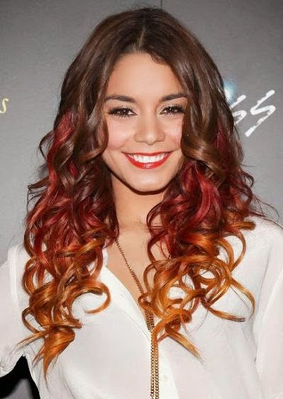 Vanessa Hudgens Red and Cooper Hair Color Look