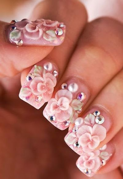 Flower and Stone Awesome 3D Nail Art Designs