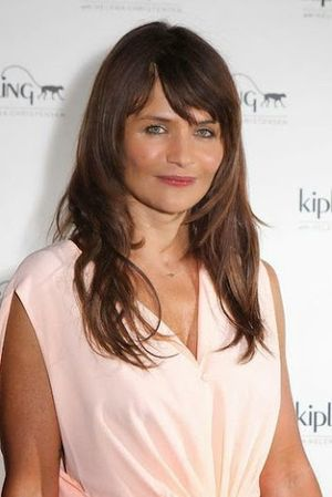 Helena Christensen Medium Shorter Bangs Hairstyle
