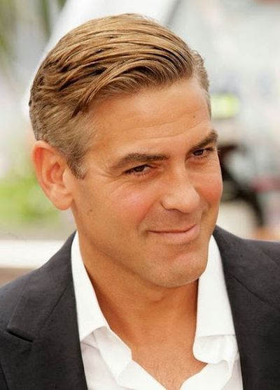 George Clooney Awesome Short Side Part Hairstyle Ideas