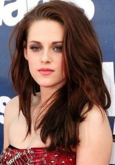 Most Popular Twilight Female Star Cast Kristen Stewart With Shoulder Length Medium Hairstyles and Chestnut Brown Hair Color