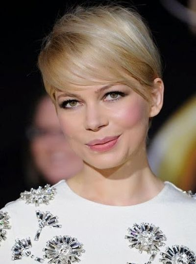 Michelle Williams American Blond Hair with Short Cut Bangs Hairstyle