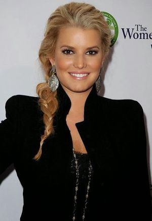 Jessica Simpson Wavy and Braided Hairstyle
