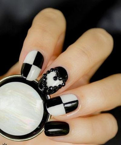 Black and White Carton Network Logo and Black Heart Design 3D Nail Art
