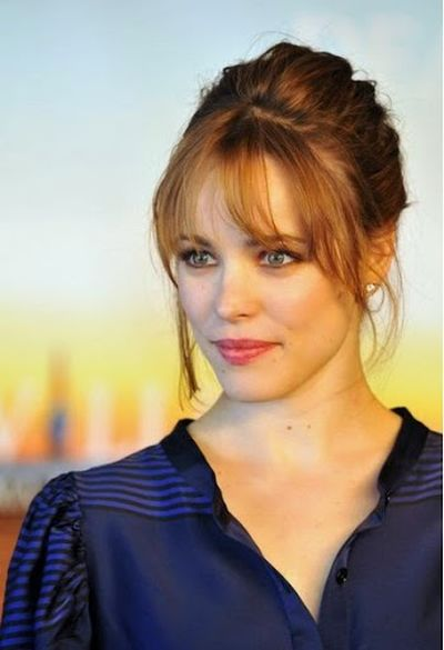 Rachel McAdams Simple Up-do and Bangs Hairstyle Look Out