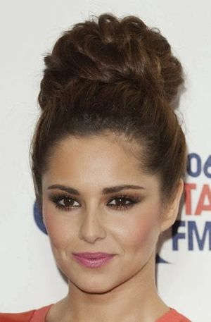 Cheryl Cole Dark Brown Long Hair High Bun Hairstyle