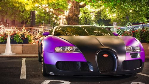 Purple colored bugatti car HD wallpapers for desktop